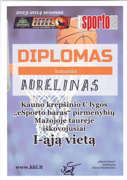 Diplomas komandai AURELINAS